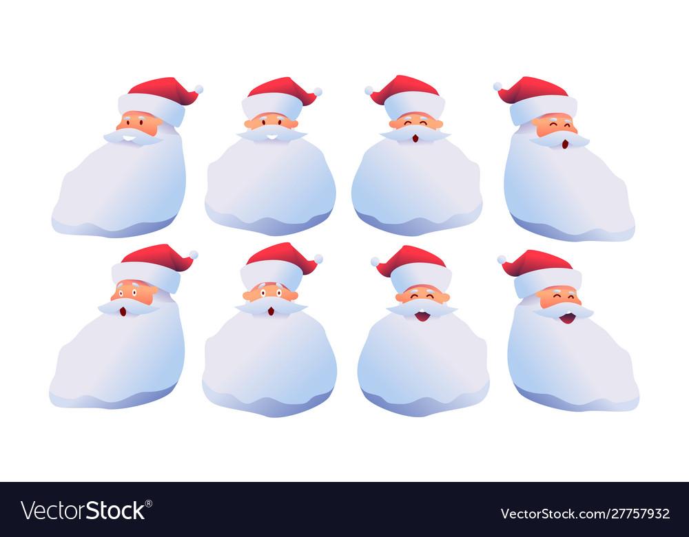 Cartoon santa claus faces set with emotions