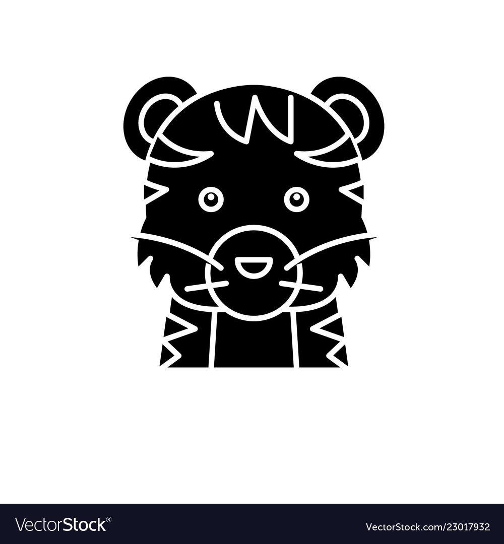 Funny tiger black icon sign on isolated