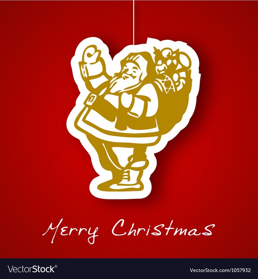 Gold Santa applique background vector image