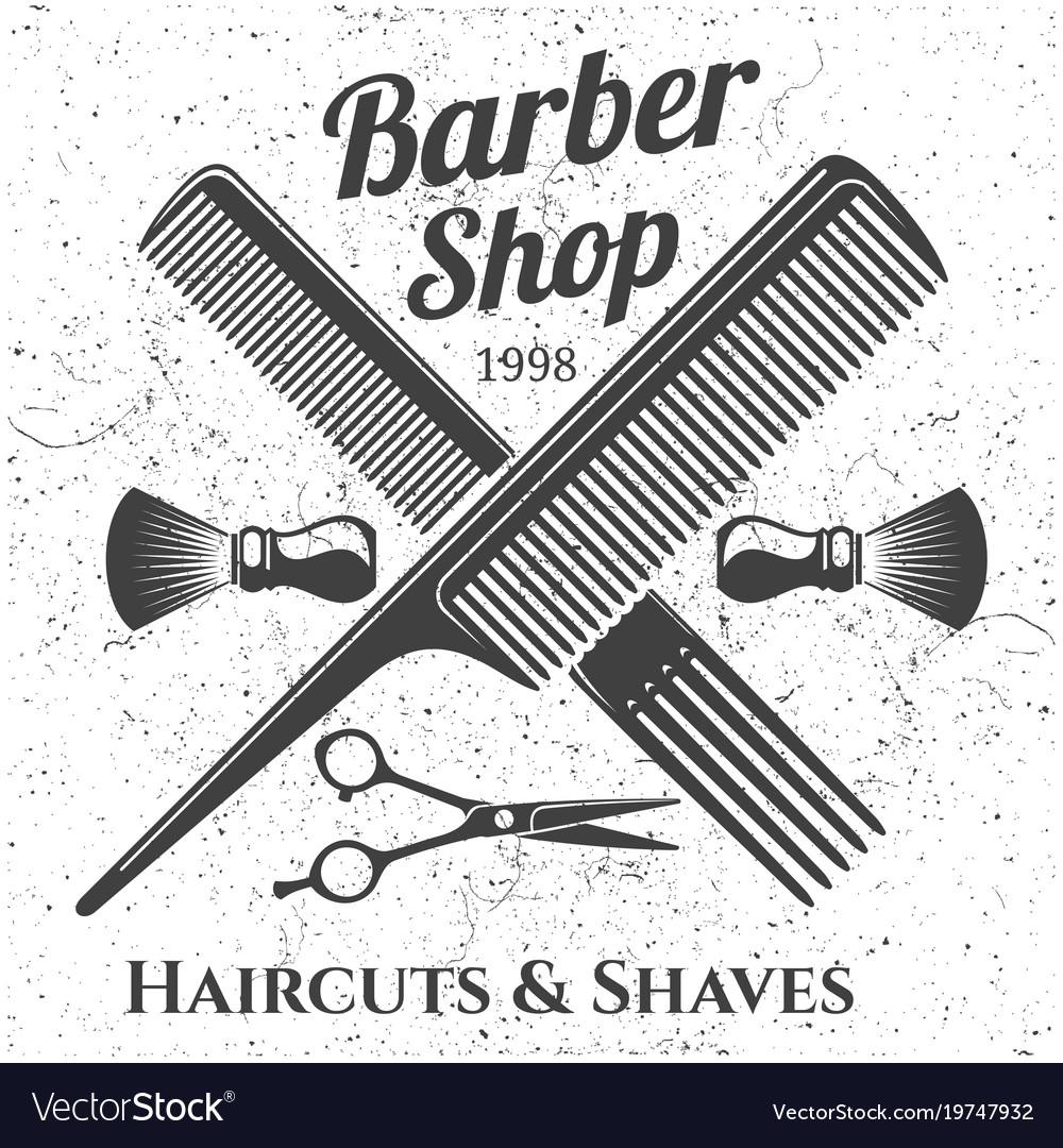Grey vintage barber shop emblem design
