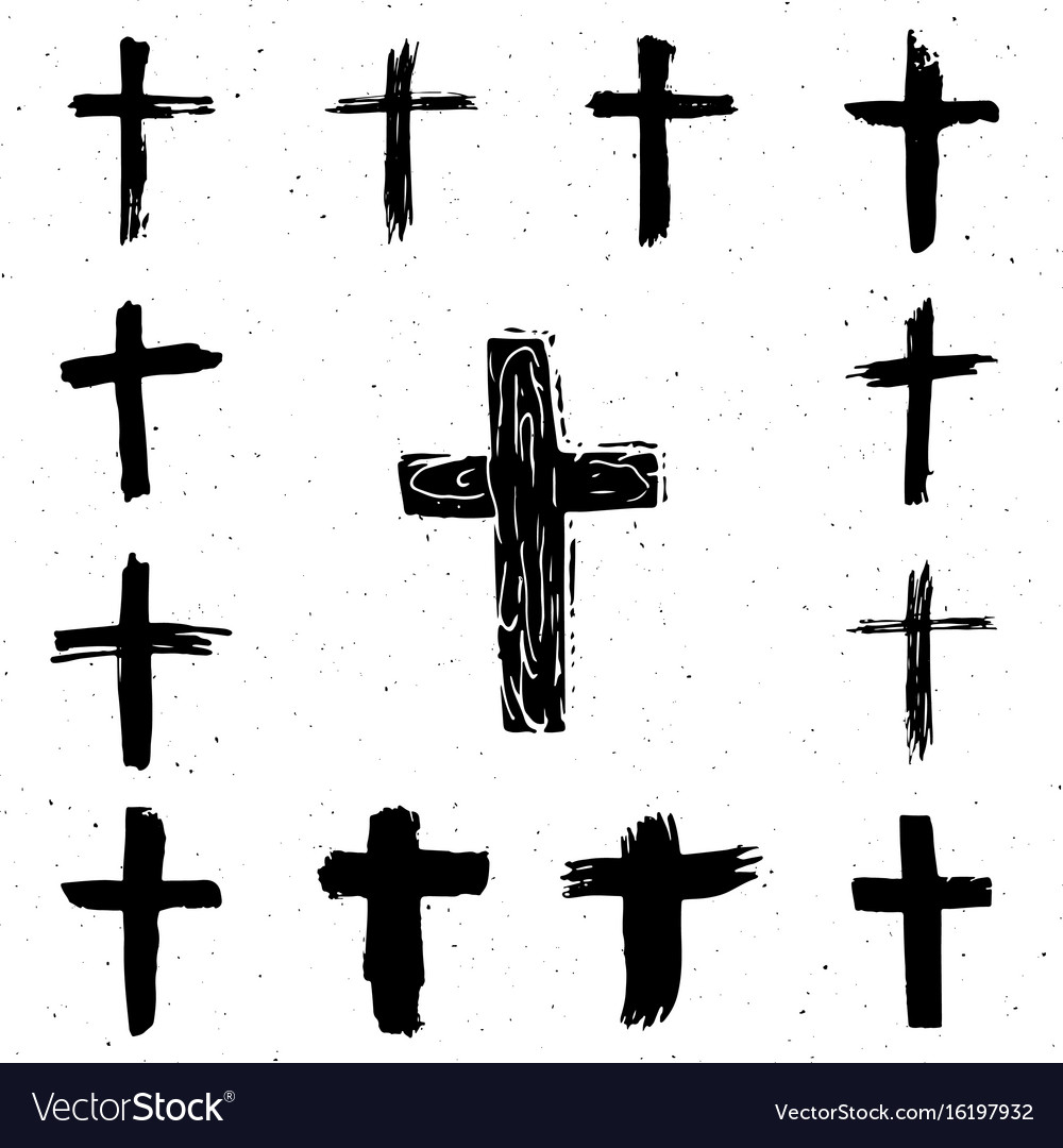 Grunge hand drawn cross symbols set christian