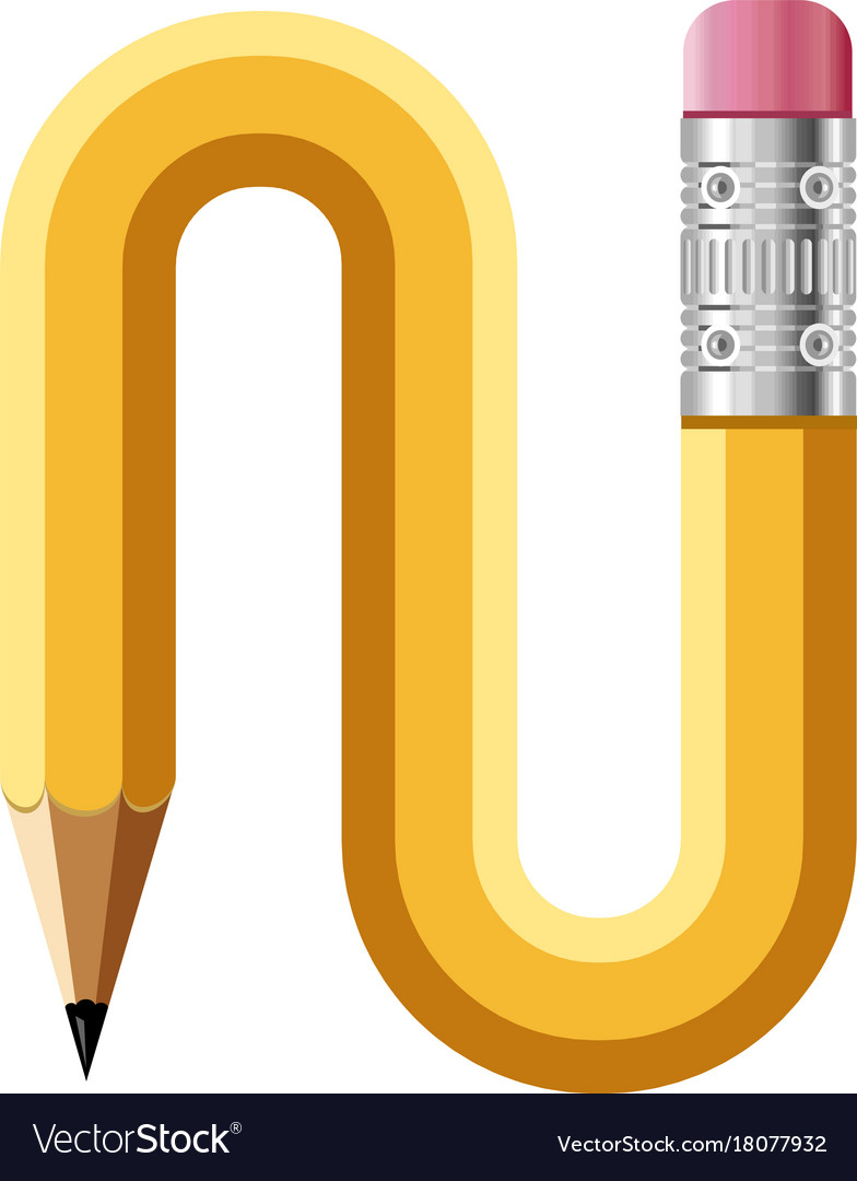 Letter N Pencil Icon Cartoon Style Royalty Free Vector Image