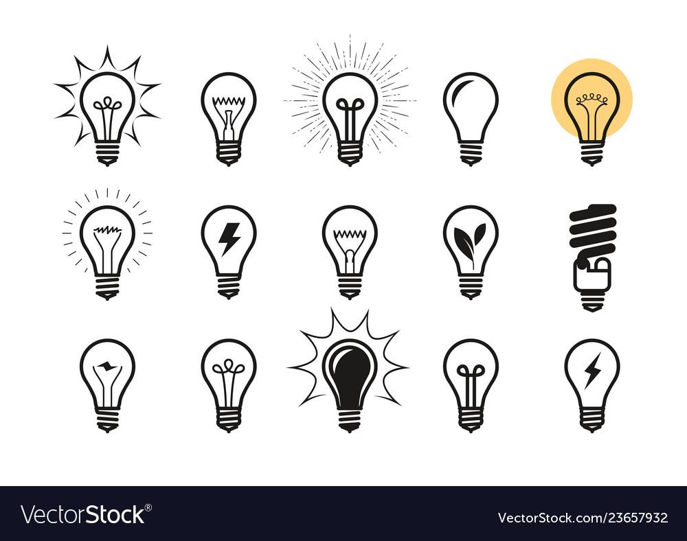 Lightbulb icon set light bulb electricity