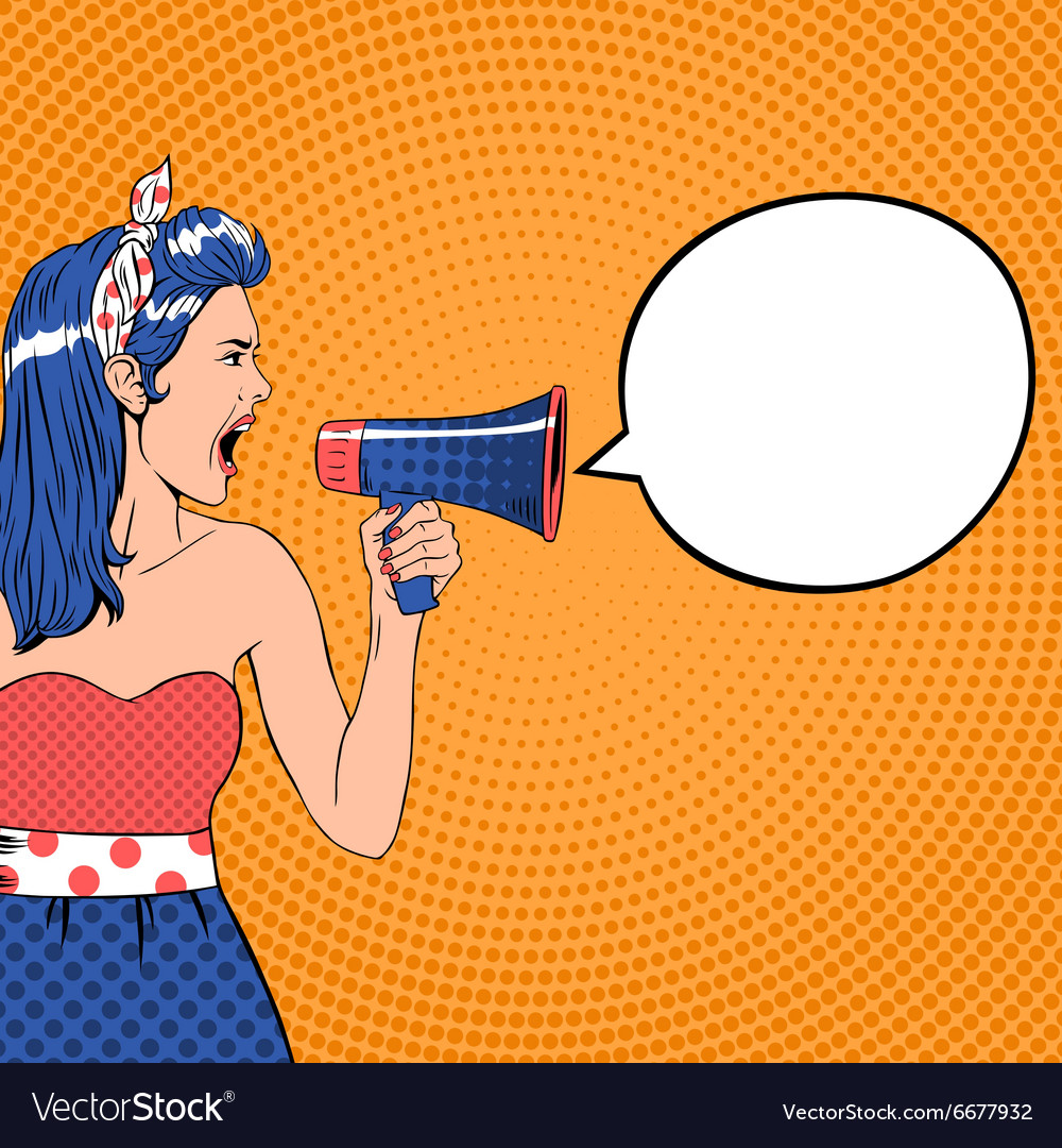 Pop art girl with speech bubble and megaphone