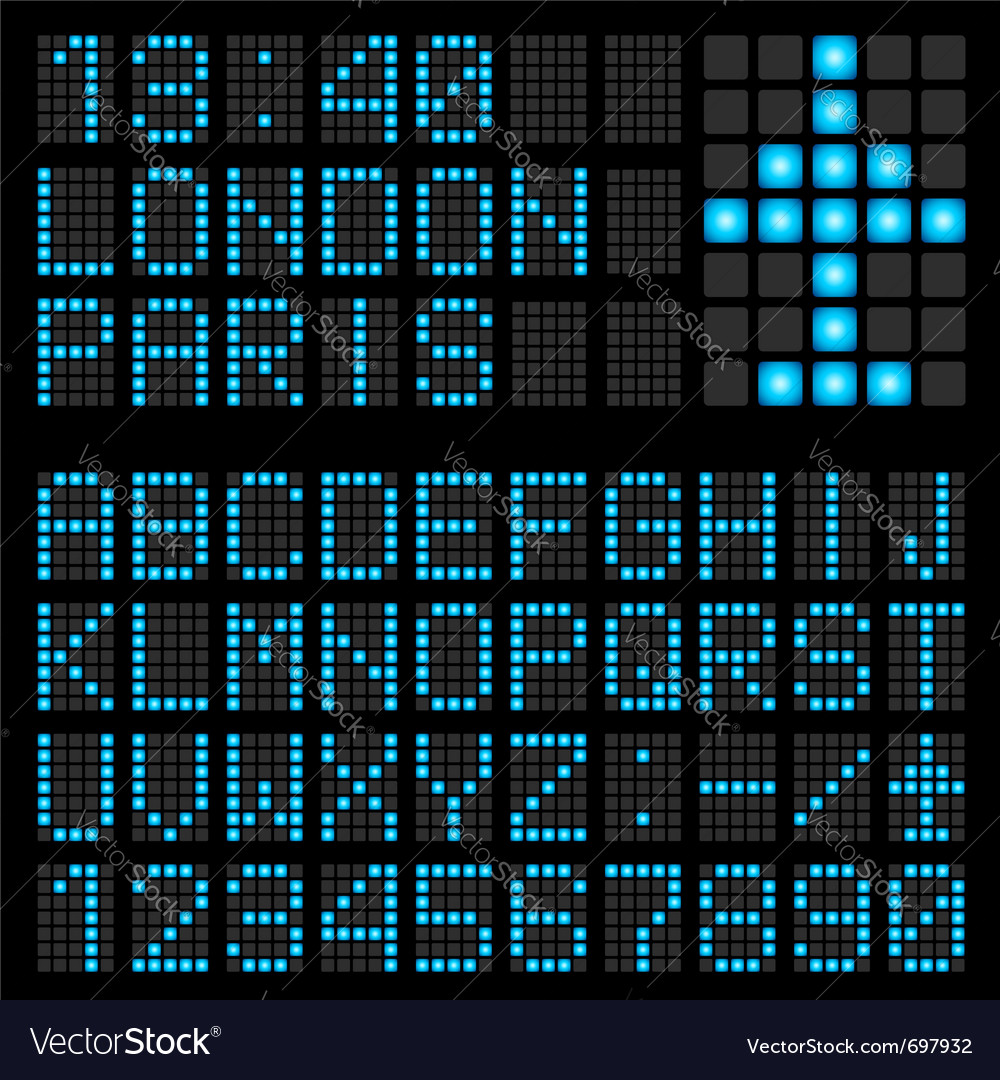 Set blue letters on a mechanical timetable vector image