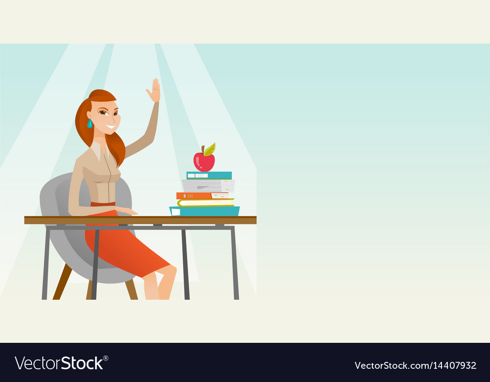 Student raising hand in class for an answer vector image