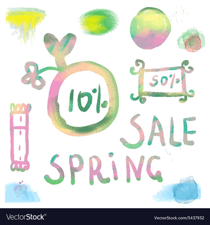 Watercolor sale labels set