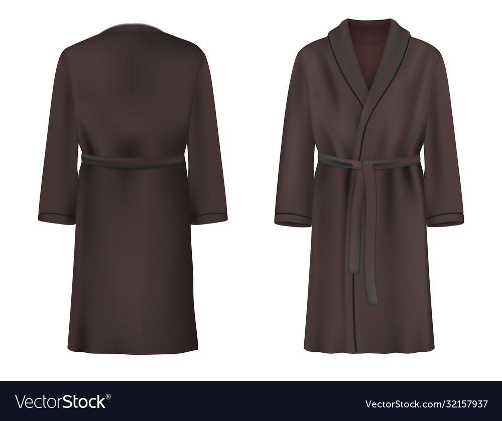 Black bathrobe mockup set isolated