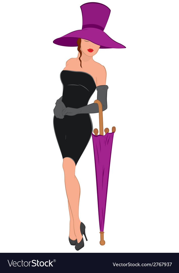 Cartoon young woman in mini black dress with