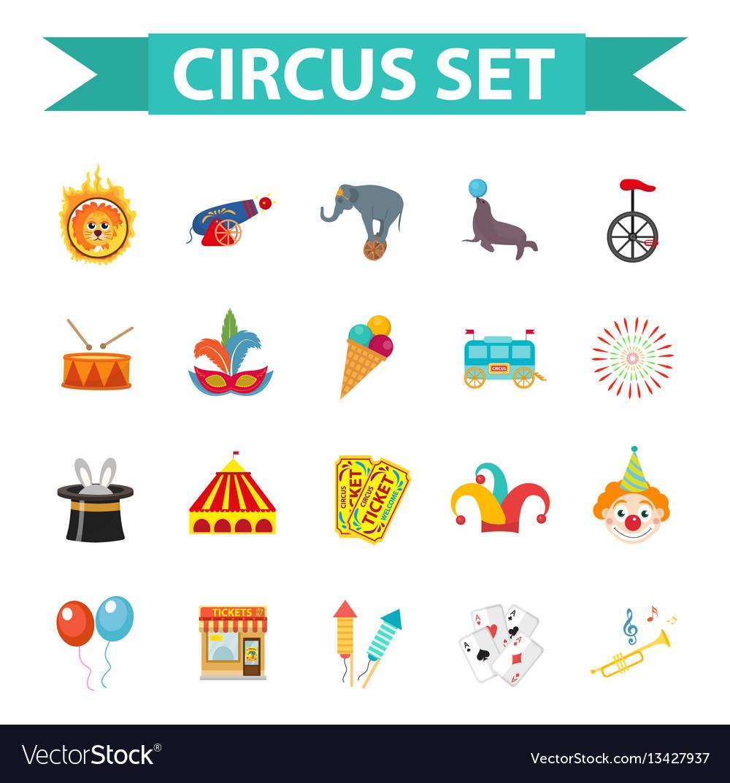 Circus icon set flat cartoon style set isolated