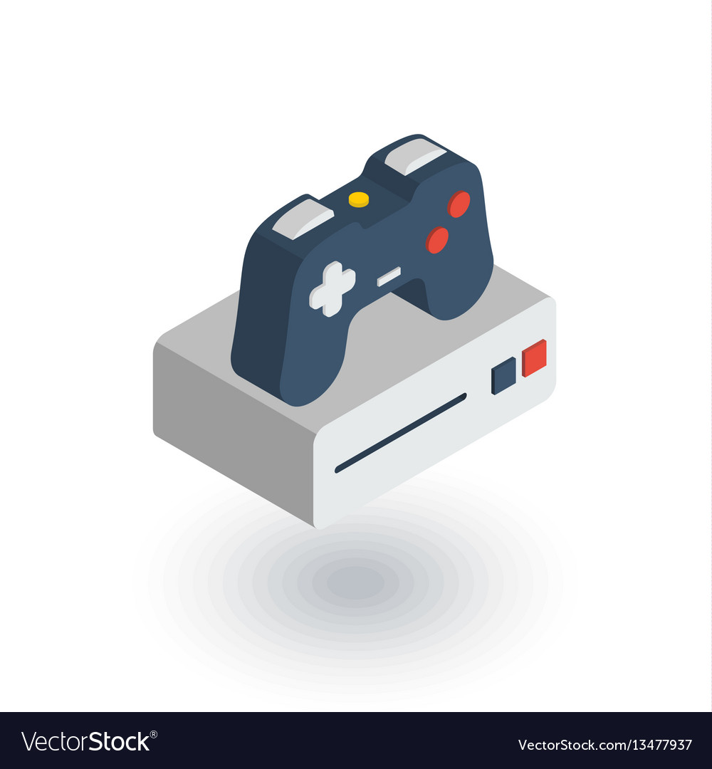 Console and joystick gaming isometric flat icon vector image