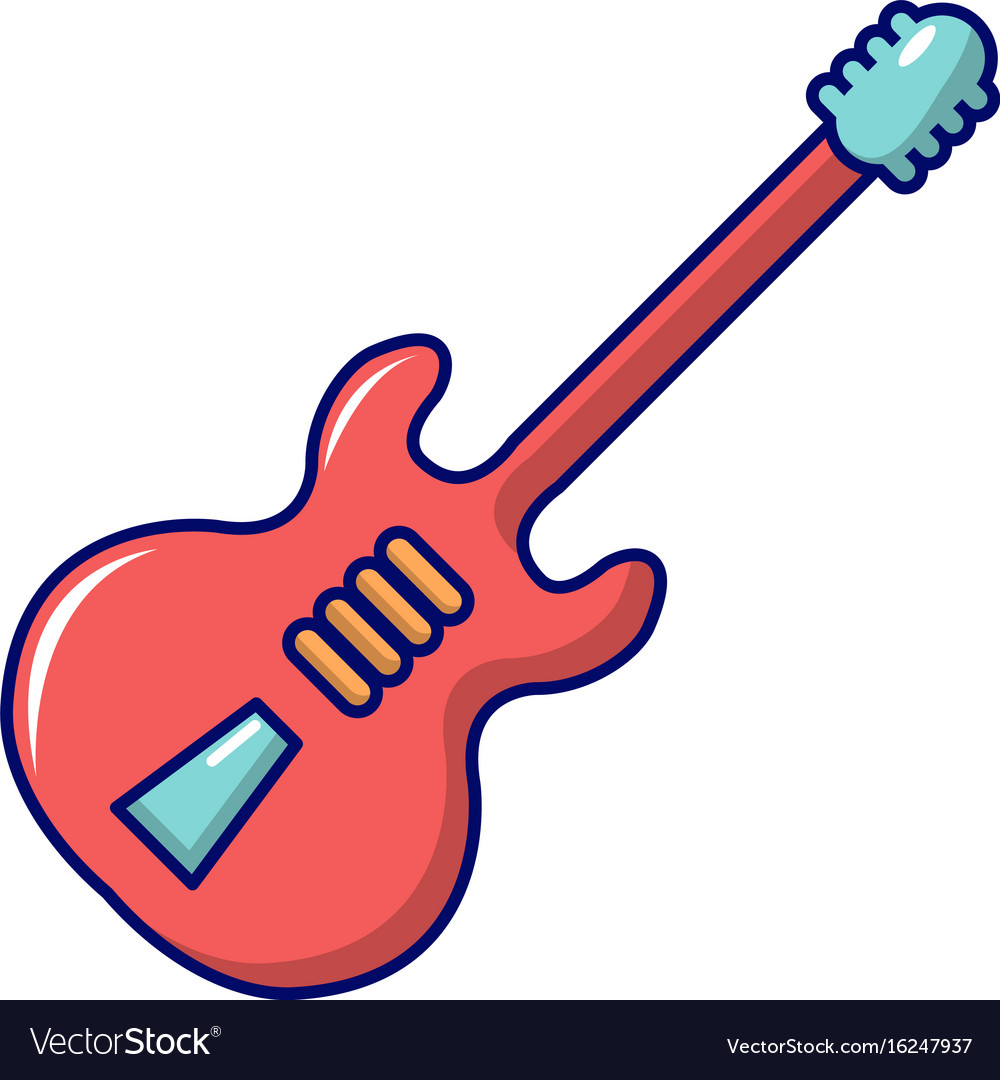 Electric guitar icon cartoon style Royalty Free Vector Image