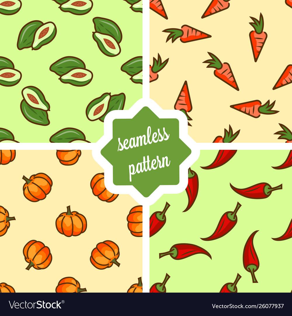 Fruit and vegetables pattern set