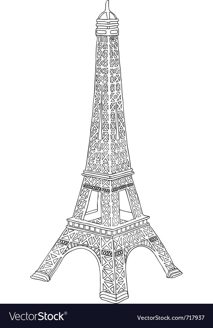 Hand drawn eiffel tower vector image