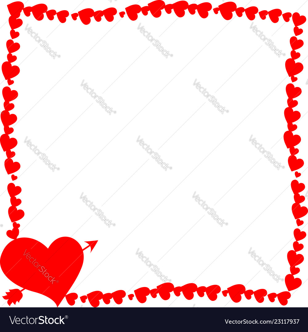 Red retro photo frame made of hearts with arrow