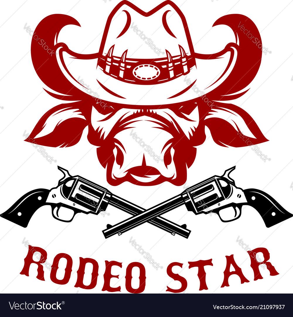Rodeo star buffalo head in cowboy hat design