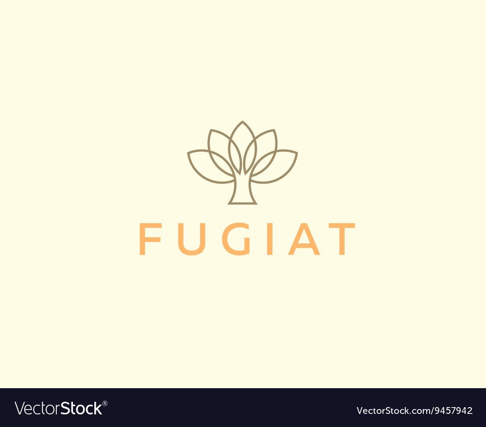 Abstract elegant tree flower line logo icon design