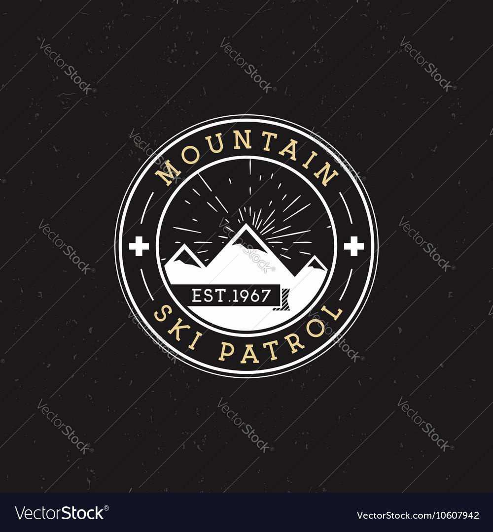 Camping Label Vintage Mountain ski patrol round