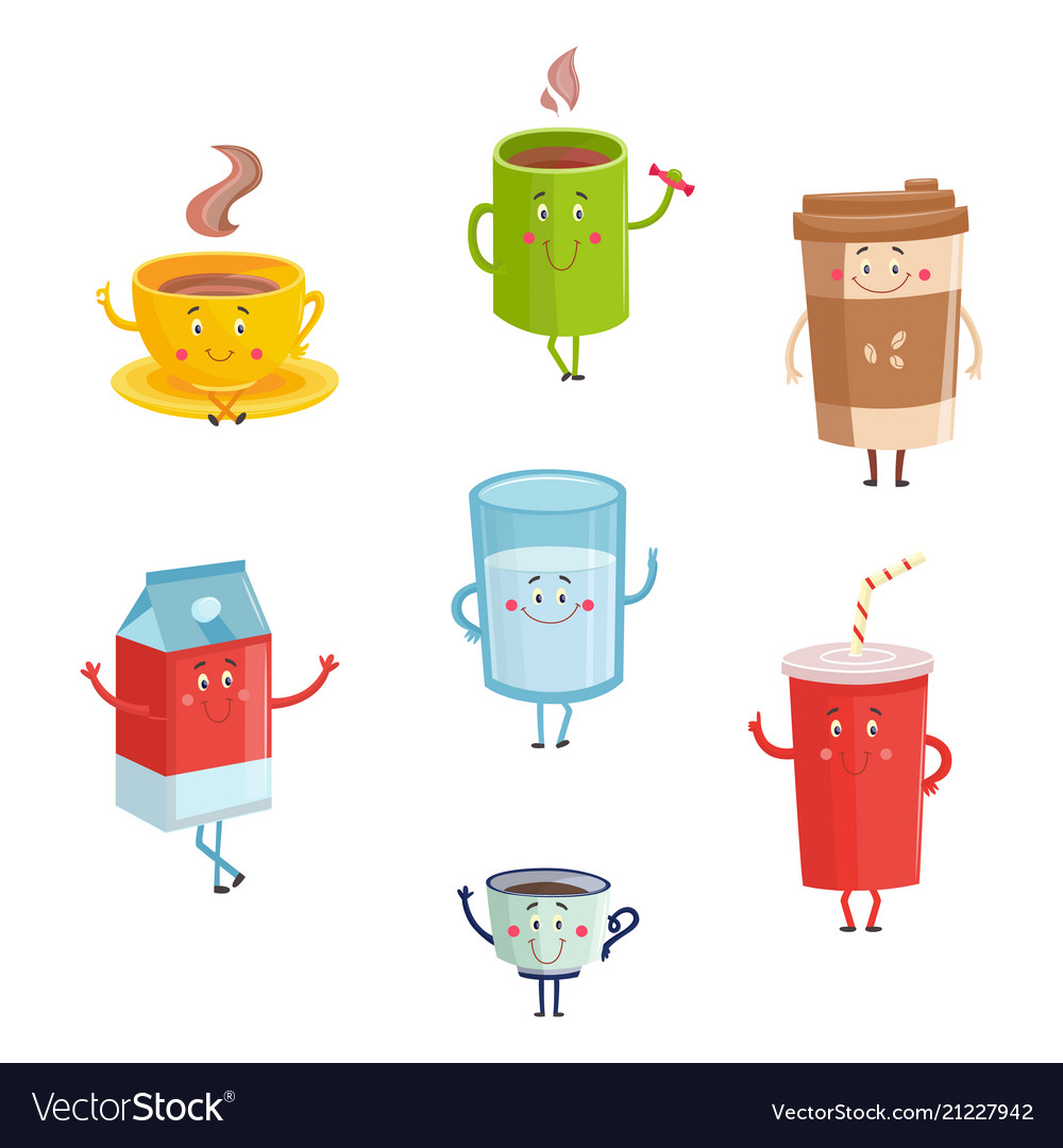Cartoon cute drink characters isolated on white
