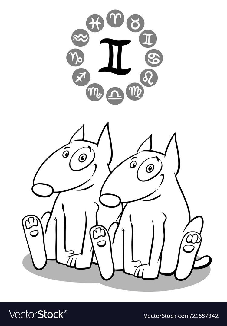 Cartoon dog as gemini zodiac sign