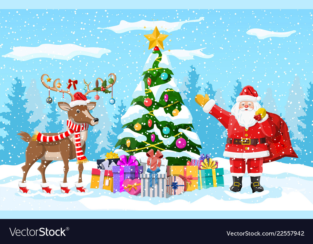 christmas santa claus reindeer royalty free vector image vectorstock