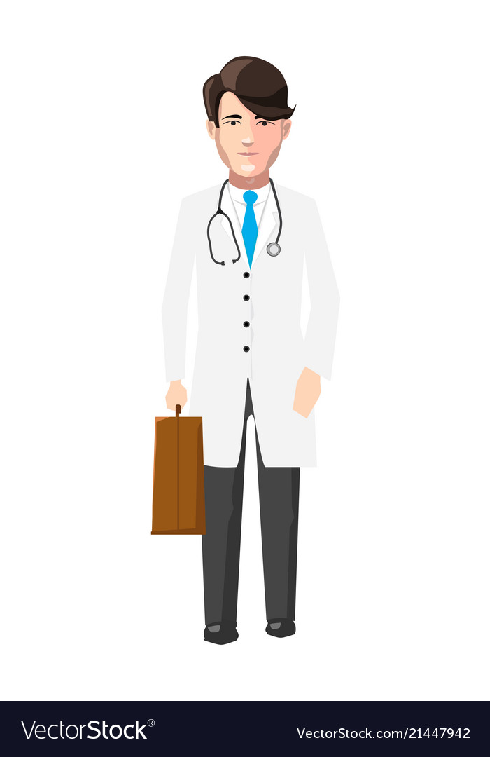 Doctor in white robe with medicine case and