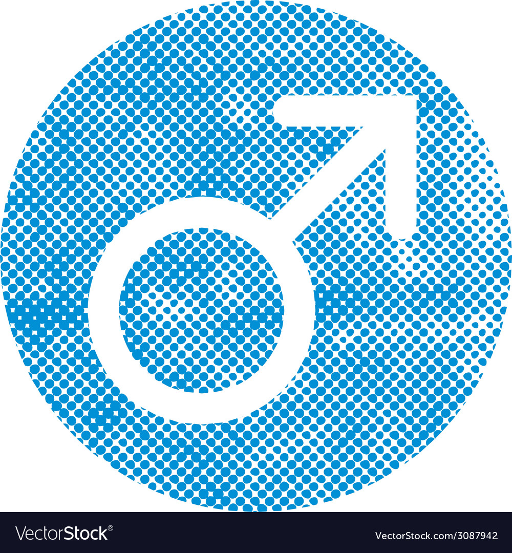 Male symbol Mars icon with pixel print halftone vector image
