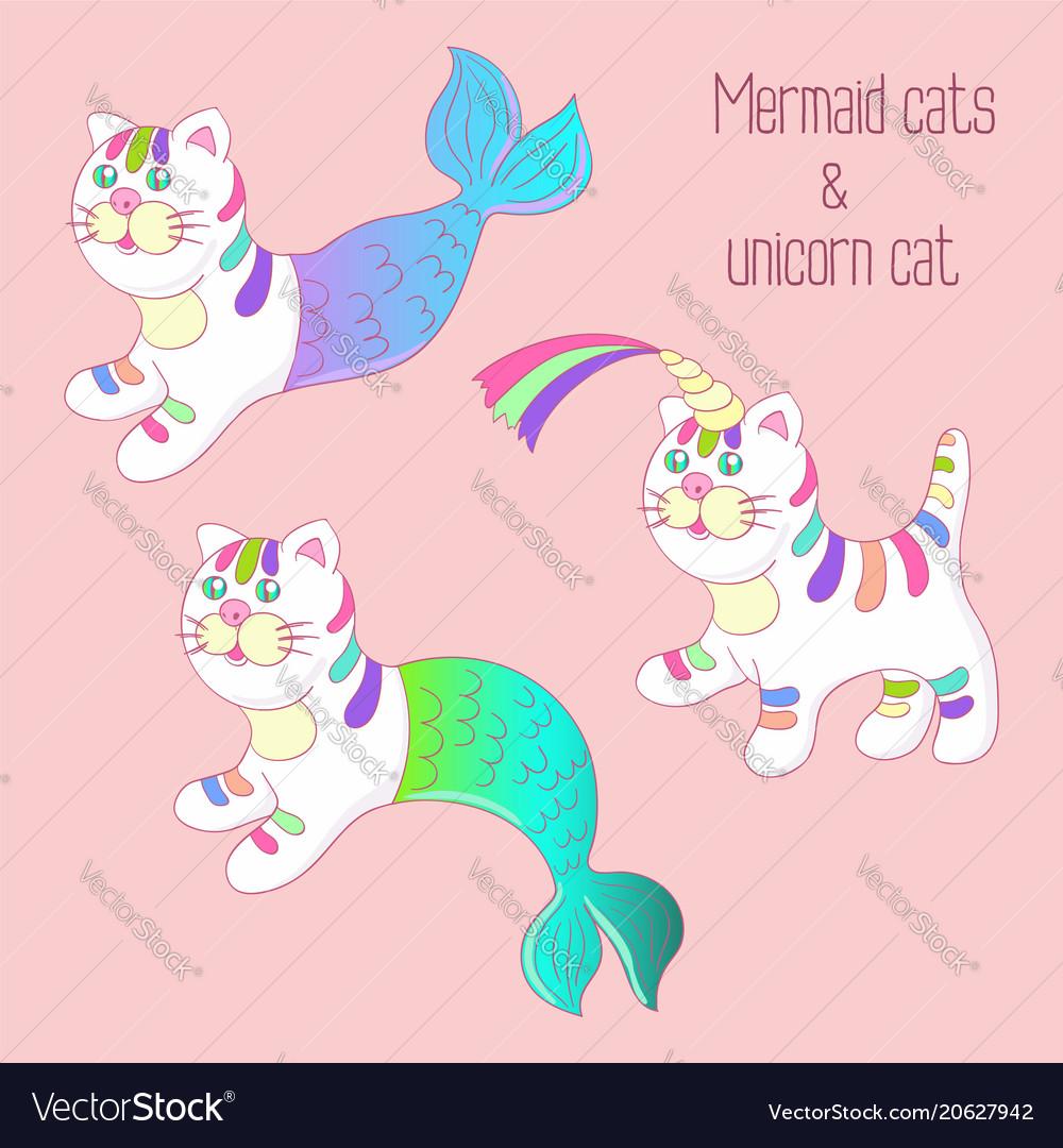 Mermaid cats purrmaids and unicorn cat set