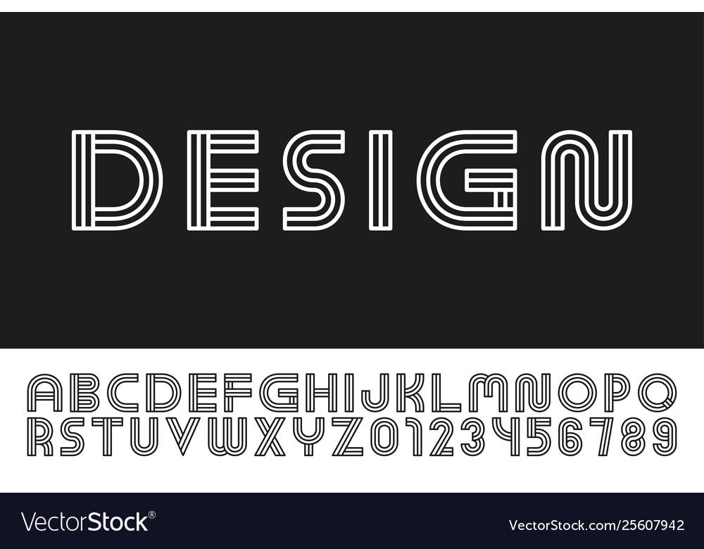 Modern designer linear font trendy english