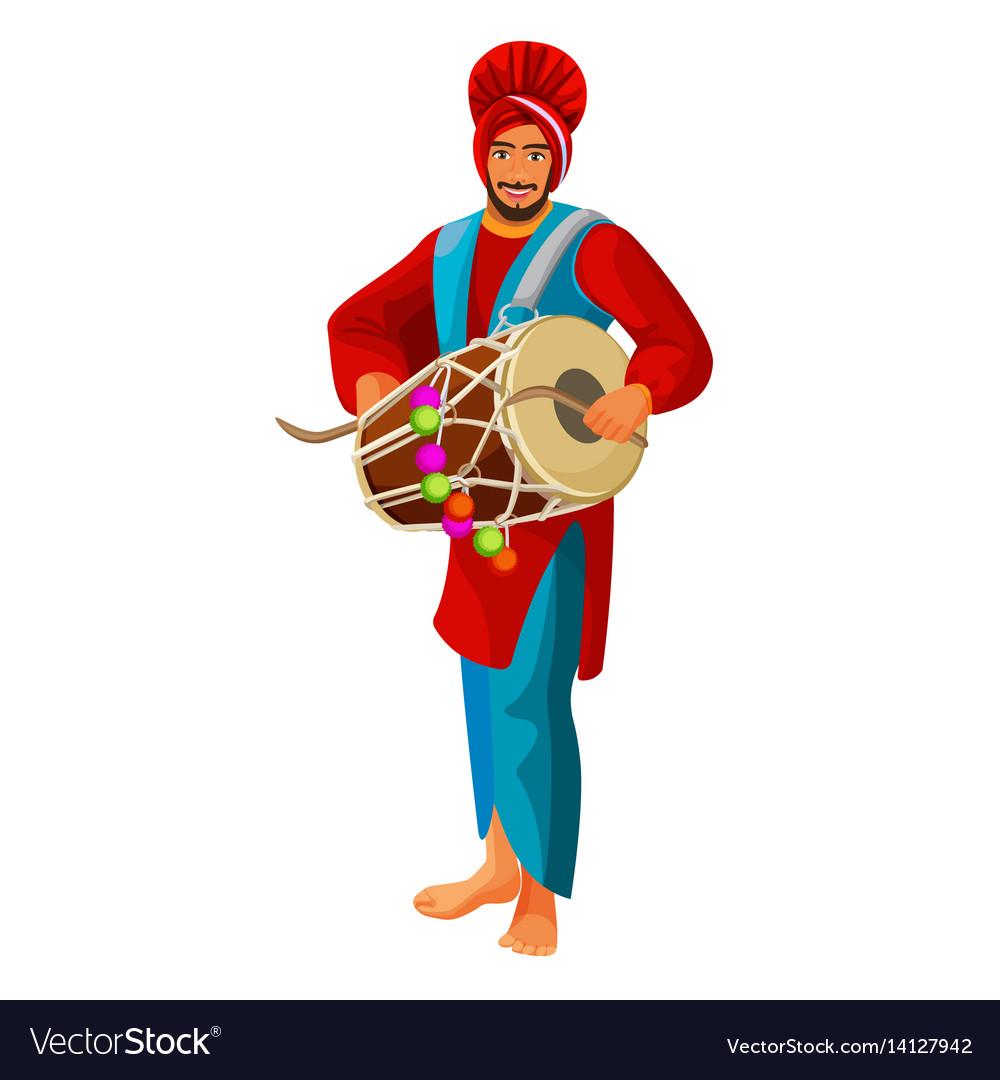 Punjabi bhangra drummer in national cloth vector image