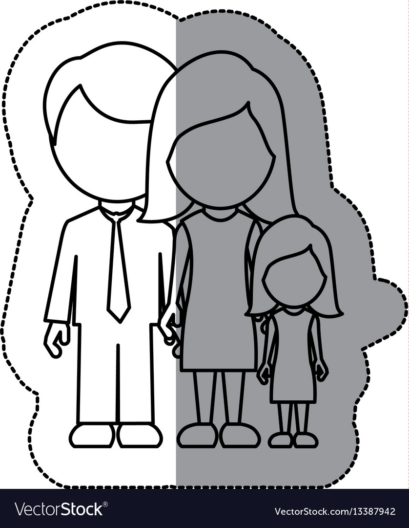 Silhouette family with their dougther icon