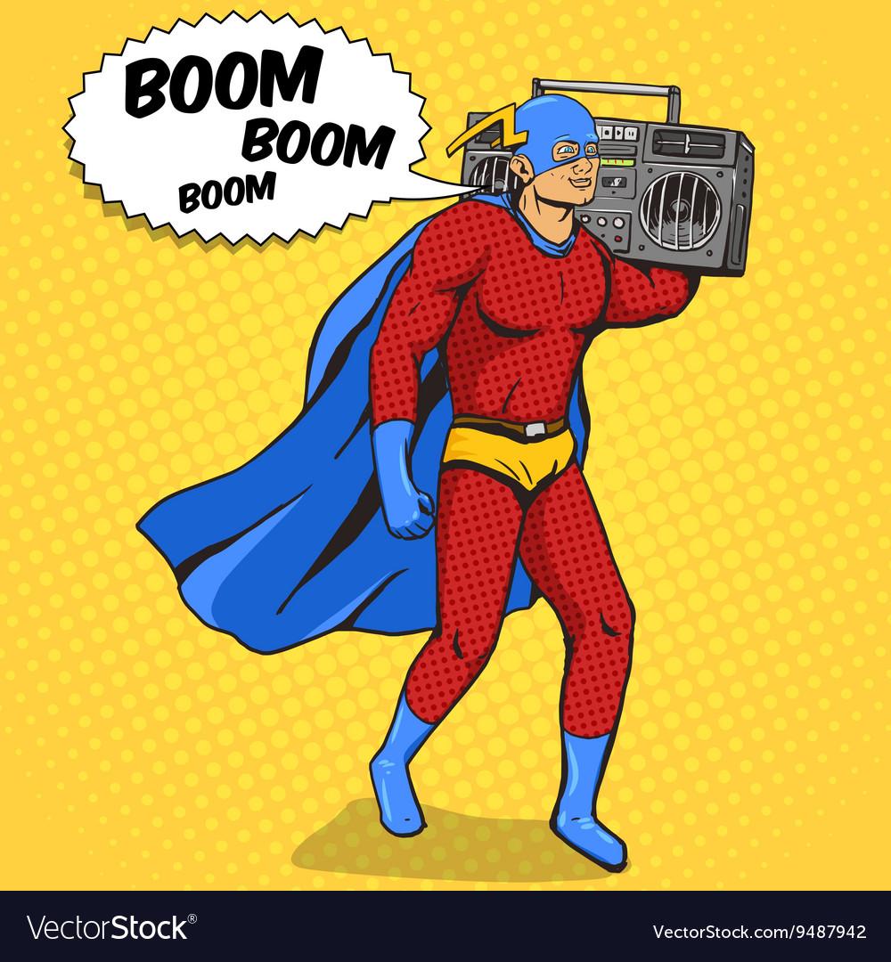 Superhero with radio cassette player