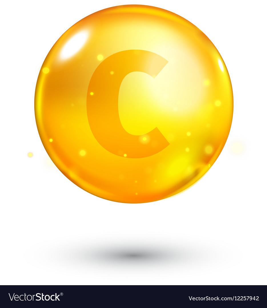 Vitamin C Glitter Gold Icon Royalty Free Vector Image