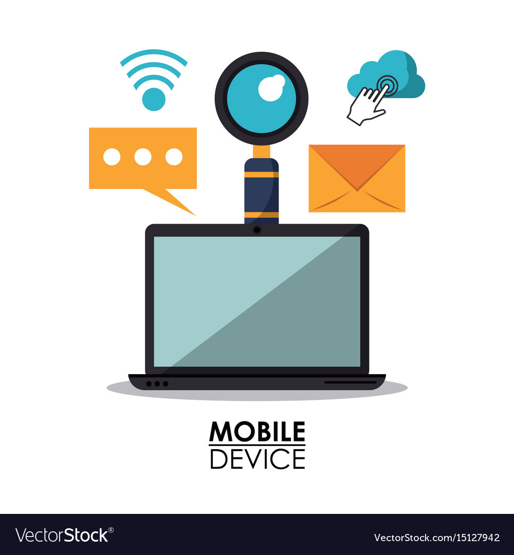 White background poster of mobile devices with