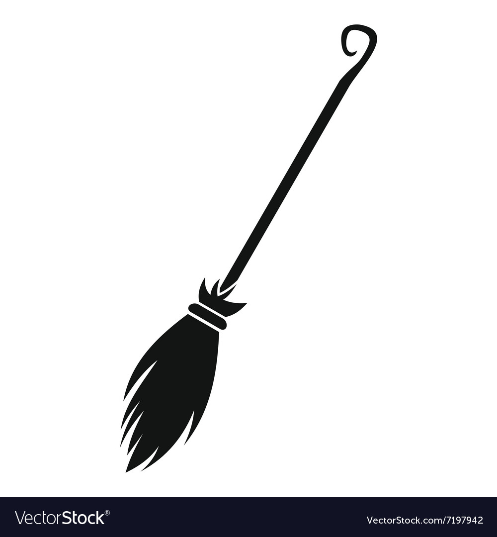 witches broom black simple icon royalty free vector image