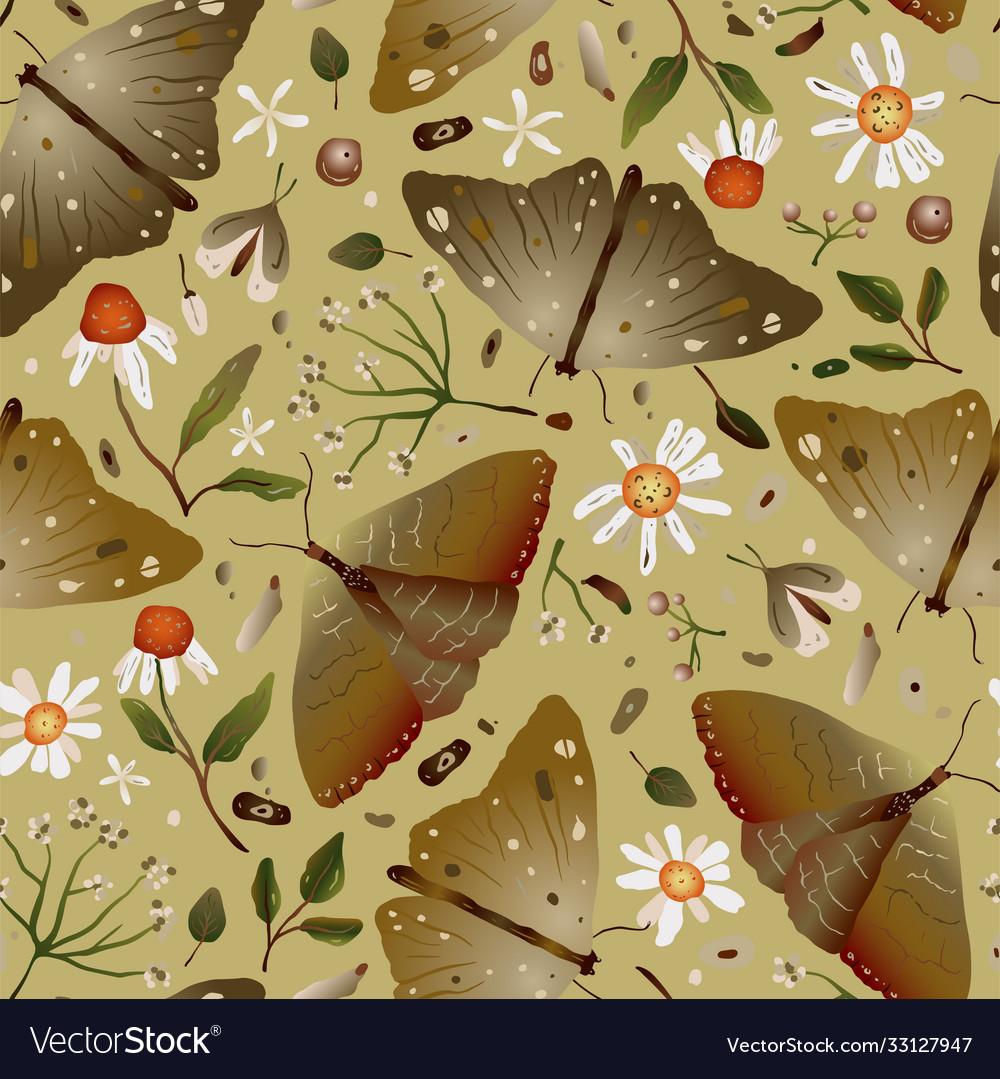 Autumn forest mushroom seamless pattern
