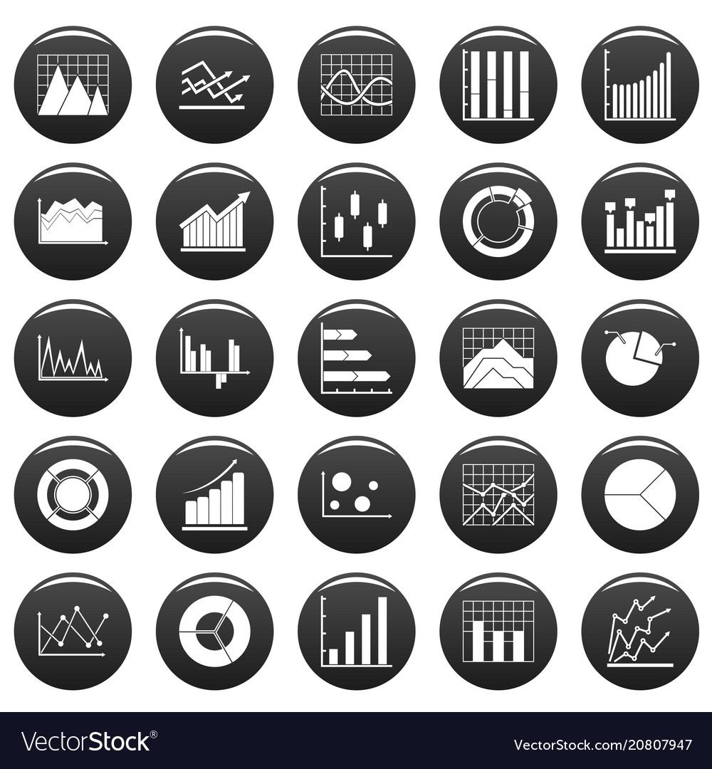 Chart diagram icon set vetor black