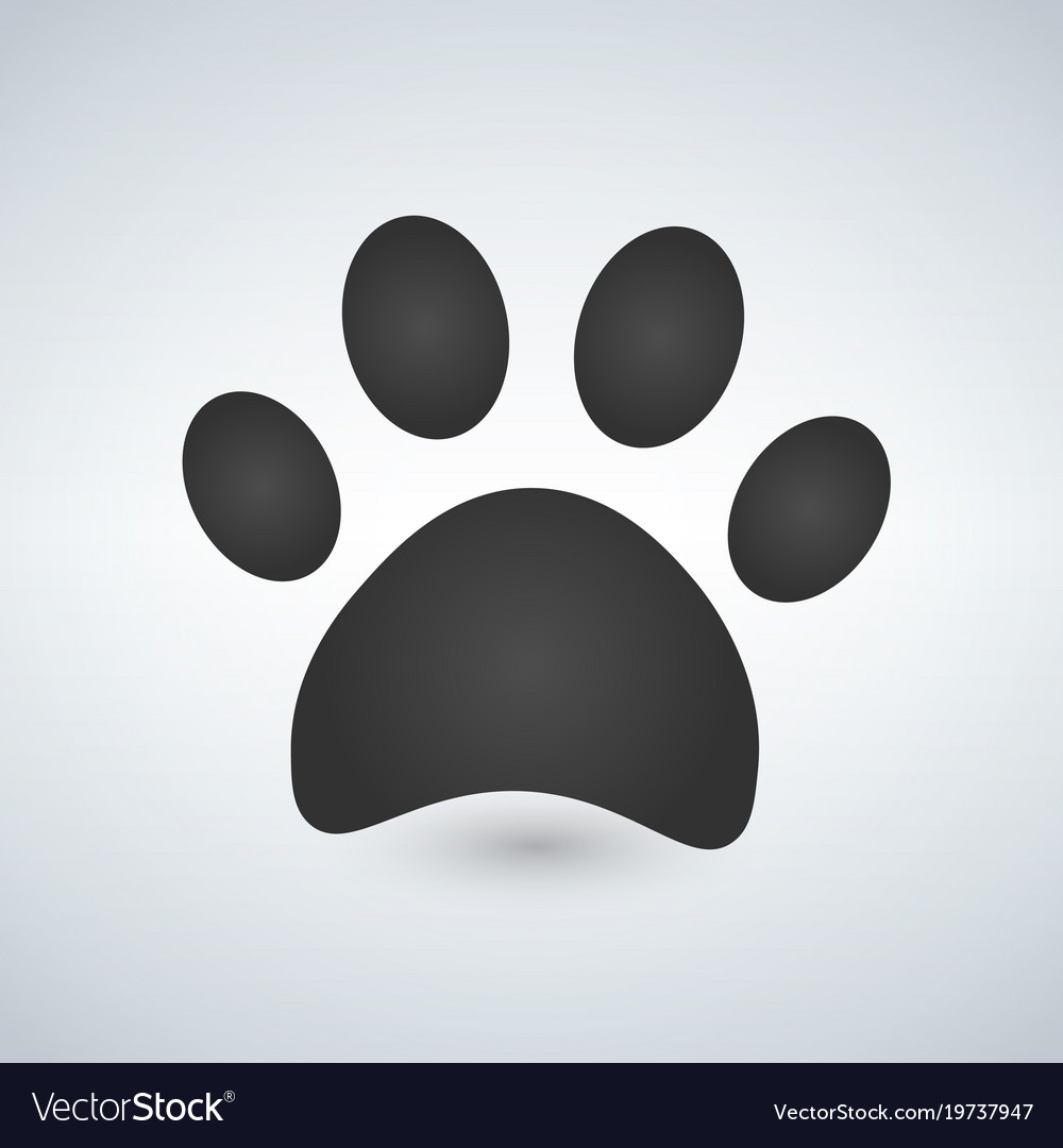 dog paw print paw icon royalty free vector image rh vectorstock com dog paw print vector artwork dog paw print vector png