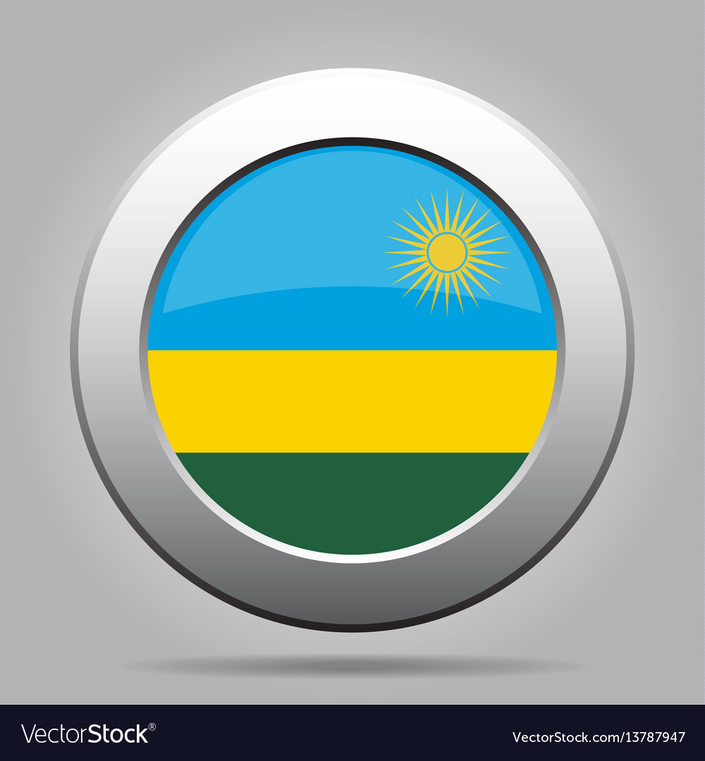 Flag of rwanda shiny metal gray round button