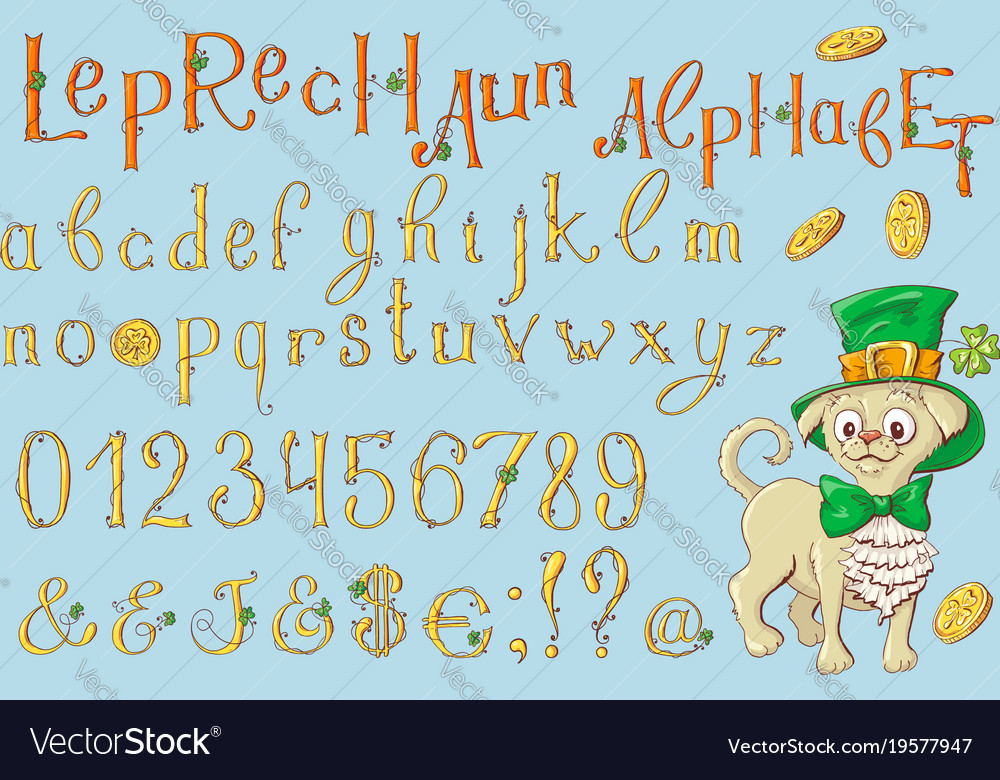 Gold letters of a st patrick s day alphabet set
