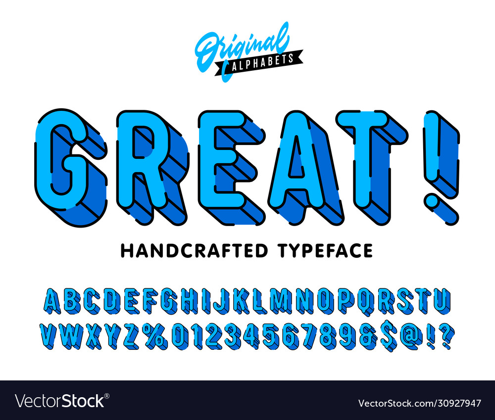 Great vintage 3d rounded alphabet