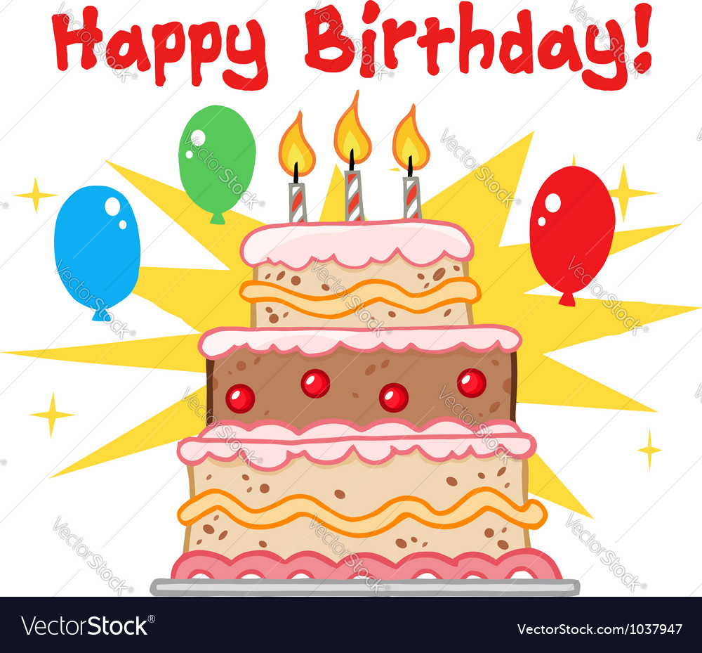 Greeting With Birthday Cake Royalty Free Vector Image