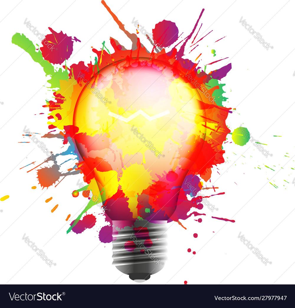 Light bulb made colorful grunge splashes