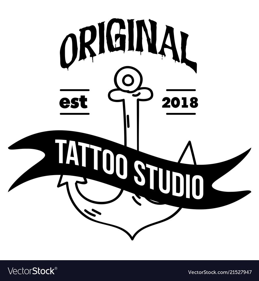 Original Tattoo Studio Ribbon Anchor Background Ve