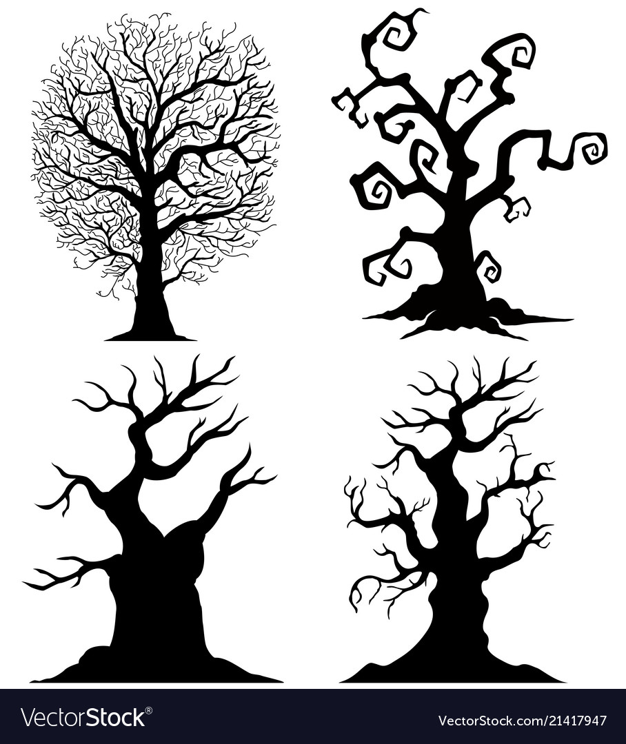 Scary Tree Silhouettes On White Background Vector Image