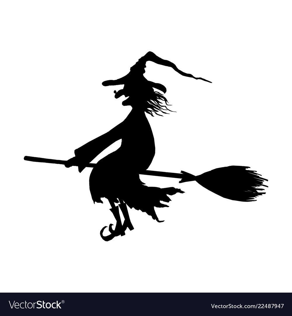 Silhouette of halloween smiling wicked witch