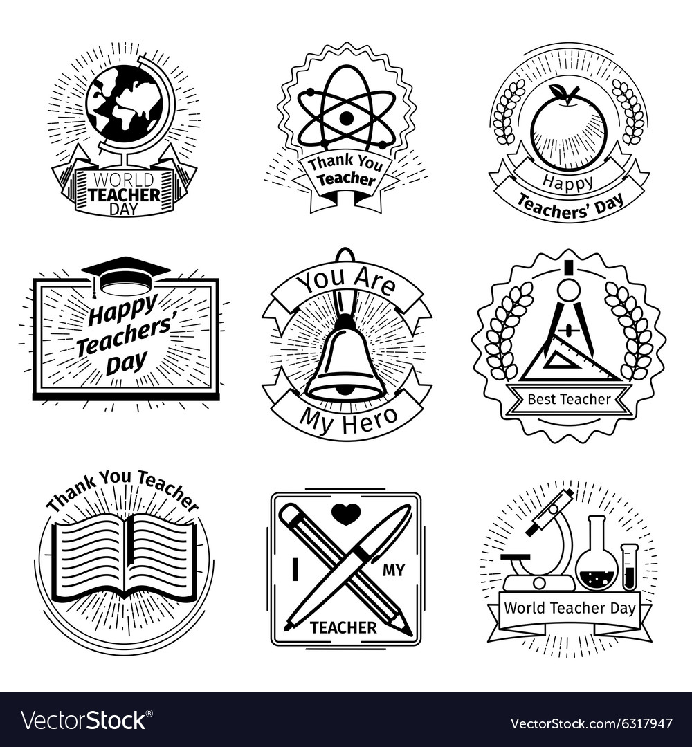 Teachers day emblems set school and education