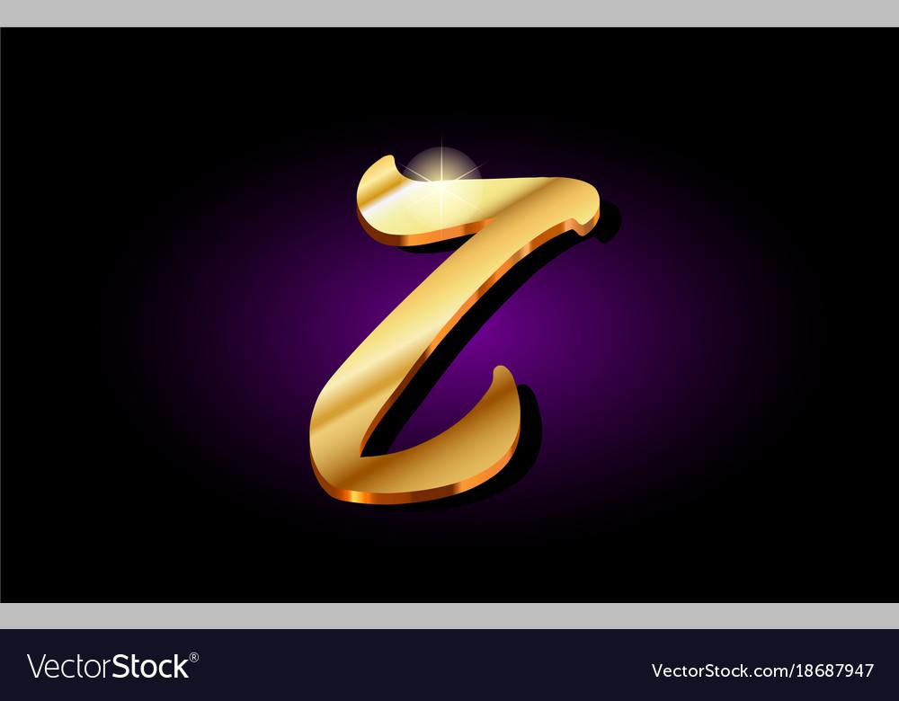 Z alphabet letter golden 3d logo icon design