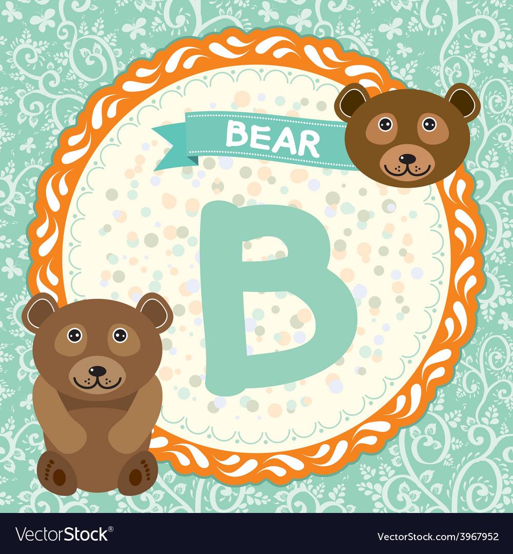ABC animals B is bear Childrens english alphabet