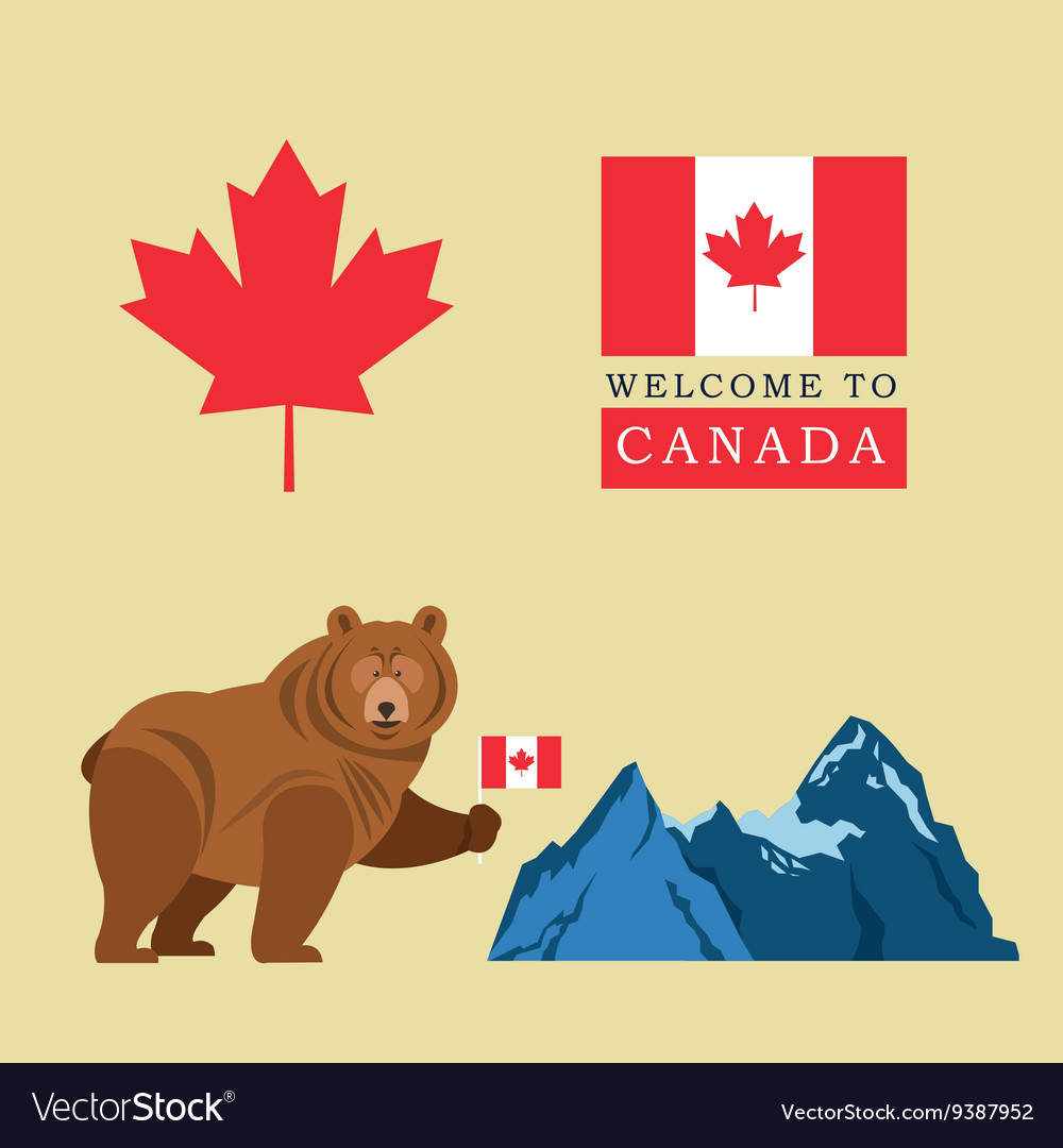 Beer cartoon with Canada Flag Maple leaf icon vector image